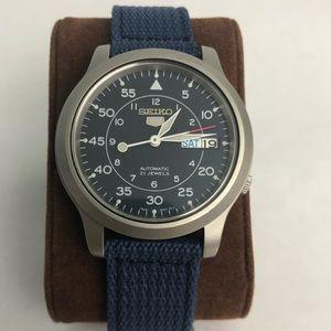 Men's Seiko 5 Blue Dial Blue Canvas Watch